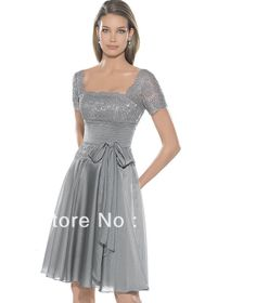 Elegant Square Knee-Length Chiffon With Applique Sash Lace Mother of the Bride Dress $90.00