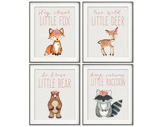 Woodland Nursery, Girl Boho Nursery Art, Fox Print, Bear Print, Raccoon Print, Owl Print, Woodland Animals, Boho Decor, Animal Nursery Art by ColorLovePrintCo on Etsy https://www.etsy.com/uk/listing/463570927/woodland-nursery-girl-boho-nursery-art