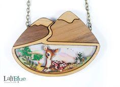 Bambi necklace. / Collar Bambi. Natural wood and paper diorama 3D. $29.03 by LaliblueShop