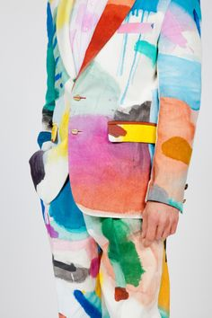 Sjim Hendrix wearing a suit made by his mom with fabric painted by Bonno van Doorn. Sjim Hendrix wearing a suit made by his mom with fabric painted by Bonno van Doorn. Fashion Mode, Look Fashion, Fashion Art, High Fashion, Womens Fashion, Fashion Design, Looks Style, My Style, Painted Clothes