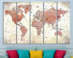 This item is unavailable Large World Map Poster, Framed World Map, Framed Maps, Kids World Map, World Map Canvas, World Map Wall Art, World Map Outline, World Map With Pins, World Map Printable