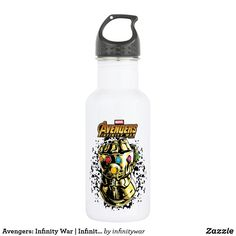 Avengers: Infinity War | Infinity Gauntlet Graphic Stainless Steel Water Bottle. Special Marvel Infinity War gift ideas to personalize. #marvel #avengers #comic #gifts #birthday #birthdayparty #birthdaycard #personalize #kids #shopping