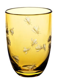 Vintage French Soul ~ The Theresienthal Planet Earth Bees tumbler in tangerine - Planet Earth glasses are illustrations of philosophical thoughts, expressed not in words, but with shape, colours, cut or engraved pictures. Buzzy Bee, I Love Bees, Bee Art, Bee Happy, Save The Bees, Bees Knees, Queen Bees, Mellow Yellow, Bee Keeping