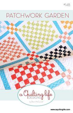 Patchwork Garden quilt PDF pattern   Etsy Strip Quilts, Patch Quilt, Quilt Blocks, Lap Quilt Patterns, Quilting Ideas, Irish Chain Quilt, Postage Stamp Quilt, Shops, Halloween Quilts