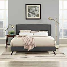 Modway Camille Fabric Platform Bed with Round Tapered Legs
