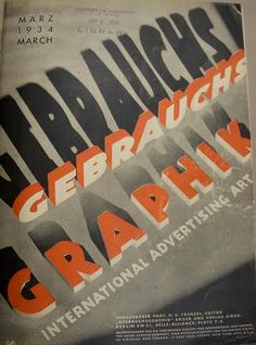 """Nice. """"The onslaught of 3D type, Gebrauchsgraphik cover, 1934"""""""