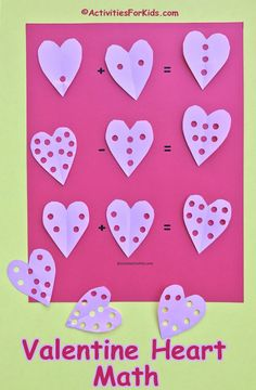 A fun way to practice addition and subtraction. Free printable for hearts and worksheet at ActivitiesForKids.com.