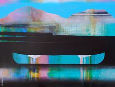 Cette attirance des ècluses lointaines, mixed media canoe painting by Sylvain Leblanc   Effusion Art Gallery + Cast Glass Studio, Invermere BC River Painting, Boat Painting, Contemporary Decor, Modern Decor, Art Gallery, Cast Glass, Canadian Artists, House Colors, Landscape Paintings
