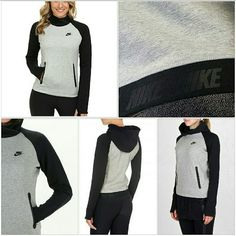 Nike Tech Fleece Funnel Jacket No Trades/ No Lowest/Price Firm  Nike Tech Fleece Funnel - Women's Sweatshirt : Black/Dark Grey Heather/Black : Up your workout fashion in this Nike Tech Fleece Funnel! Overlapped neckline with attached hood. Long raglan sleeves provide a wider range of motion while thumbhole accents keep hands warm. Zippered kangaroo pocket at front. Pullover design. Banded hemline with repeat brand mark logo at back. Swoosh logo at upper left chest. 69% cotton, 31% polyester…