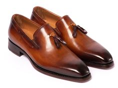 Paul Parkman Men's Brown Calf-skin Leather Goodyear Welted Tassel Loafers Material:Calf-skin Leather Color:Brown Hardware:None Outer Sole:Antique finished double leather sole Goodyear welted tassel loafers for men Camel leather lining a Loafer Shoes, Loafers Men, Men's Shoes, Dress Shoes, Shoes Men, Dress Loafers, Mens Designer Loafers, Designer Shoes, Painting Leather
