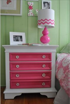 Charlotte's Big Girl Room - redo an old dresser white with purple drawers and girly (crystal?) knobs.