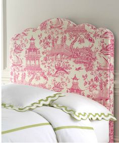 pretty pink Toile de Jouy fabric covered headboard and the bit of apple green is fun too Pink, Headboard, Inspired Homes, Chinoiserie Fabric, Girl Room, Beautiful Bedrooms, Pink And Green, Upholstered Headboard, Neiman Marcus Home