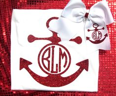 Custom Glitter Anchor Embroidered Shirt and by SouthernGirlsShoppe Anchor Shirts, Cheer Gifts, Little Diva, Boutique Hair Bows, Monogram, Glitter, Unique Jewelry, Handmade Gifts, Goodies