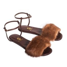 allegra mink fur sandals ($570) ❤ liked on Polyvore featuring shoes, sandals, brown flat shoes, brown sandals, flats sandals, brown shoes and allegra