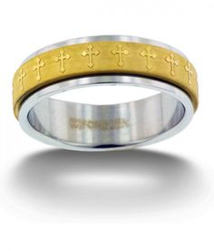 Gold Cross Spinner Ring