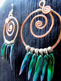 Fibonacci Jewel Beetle Earrings by DryBones on Etsy