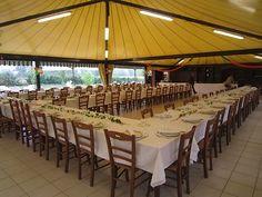 Italian wedding tent-I like this set up instead of round tables! Wedding Set Up, Tent Wedding, Wedding Venues, Dream Wedding, Wedding Ideas, Wedding Venue Decorations, Table Decorations, Italian Party, Grad Parties