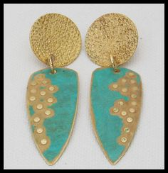 OUT of EGYPT - Handforged Patinated Hammered 2 Section Bronze Statement Earrings by sandrawebsterjewelry on Etsy