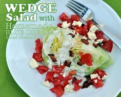 Wedge Salad with Homemade Low-Cal, Low-Carb Blue Cheese Dressing, it's the salad version of a BLT! One of Kitchen Parade's Best Recipes of 2013