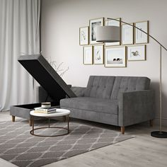 These Multifunctional Furniture Pieces All Have a Secret—And They're Currently on Sale at AllModern Modern Sleeper Sofa, Sleeper Sectional, Modern Sectional, Corner Sectional, Chaise Sofa, Fabric Sectional, Grey Sofa Bed, Couch, Small Space Living