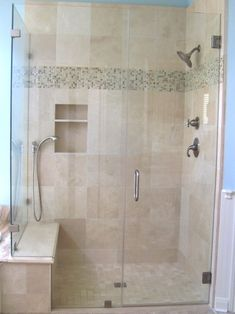 The Nice Frameless Shower Door Enclosures Frameless Shower Enclosure Traditional Bathroom Houston is one of the pictures that are related to the picture be Frameless Shower Enclosures, Frameless Shower Doors, Glass Shower Doors, Custom Shower Doors, Master Bath Shower, Master Bathroom, Shower Niche, Douche Design, Traditional Bathroom