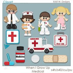 When I Grow Up Medical Clipart for Resale Scrapbooking Digital, Heath And Fitness, When I Grow Up, Paint Shop, Growing Up, Craft Projects, Paper Crafts, Medical, Clip Art