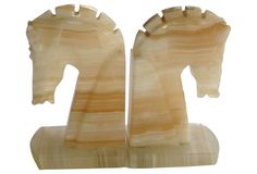 85$ Onyx Horse Head Bookends, Pair