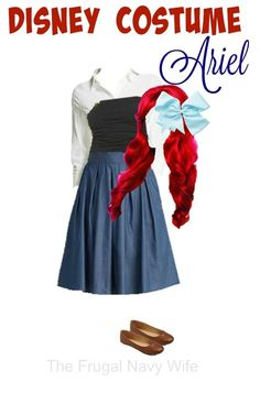 Disney Women's Costume, Ariel - Made From Everyday Clothes - The Frugal Navy Wife