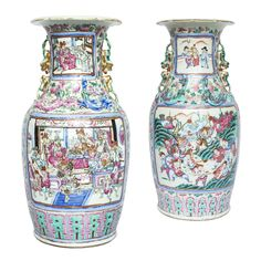 Large Pair of Chinese Canton Famille Rose Vases