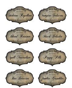 8 Potion Apothecary Labels Halloween Glossy Party Decoration Bat Zombie Vampire | eBay