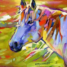 Just Landscape Animal Floral Garden Still Life Paintings by Louisiana Artist Karen Mathison Schmidt: Windsweptwild contemporary fauve horse paintingbright outsider expressionist abstract impressionist equine art Cow Art, Horse Art, Horse Horse, Blue Horse, Equine Art, Animal Paintings, Art Paintings, Art Plastique, Oeuvre D'art