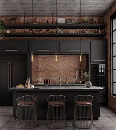 Decorating Ideas For Kitchen Walls is categorically important for your home. Whether you pick the Decor Top Of Kitchen Cabinets or Color Ideas For Kitchen Walls, you will create the best Kitchen Wall Decor Ideas for your own life. Industrial Kitchen Design, Industrial Interiors, Industrial House, Kitchen Interior, Home Interior Design, Kitchen Walls, Kitchen Cabinets, Industrial Architecture, Architecture Art