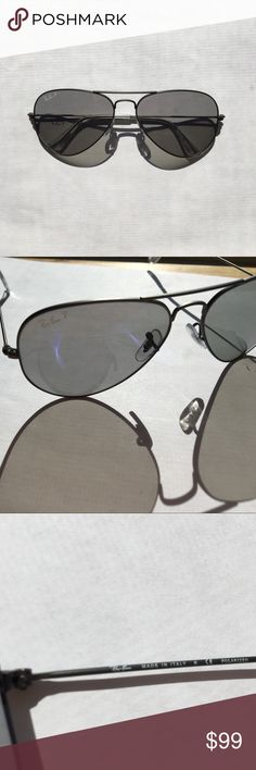 NWOT RAY-BAN POLARIZED AVIATOR GREY **RARE NWOT RAYBAN AVIATOR POLARIZED Crystal Grey Translucent Lenses Gunmetal Frame **RARE** Open to reasonable offers or trades - looking for round or hexagonal ray bans!! Ray-Ban Accessories Sunglasses