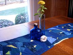 Modern Blue Table Runner, Quilted Table Runner