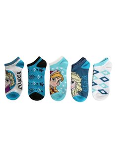 Disney Frozen No-Show Socks 5 Pair | Hot Topic