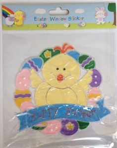 """#""""happy ##easter"""" #easter chick gel reuseable window sticker,  View more on the LINK: http://www.zeppy.io/product/gb/2/391603122201/"""