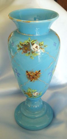 Lovely Handpainted Victorian Blue Bristol Glass Vase