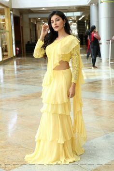 Buy Yellow Color Ruffle Pre-Stitched Saree by Akanksha Singh at Fresh Look Fashion Saree Designs Party Wear, Party Wear Sarees, Saree Blouse Patterns, Sari Blouse Designs, Indian Designer Outfits, Designer Dresses, Designer Wear, Sarees For Girls, Modern Saree