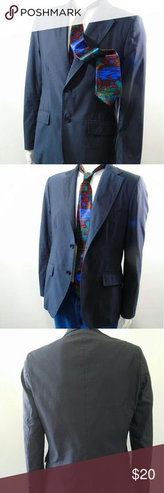 """The End Firenze Italy Sports Blazer Jacket The End Firenze Italy 2 Button Blazer Sports Jacket Asphalt Gray Sz US 40 IT 50 .Fitted, 2 Button Closure, 2 Back Vents .2 Lower & One Upper Pocket .Polyamid & Cotton Blend (feels like waterproof?to touch) .Narrow Ribbed Pattern , Asphalt Gray Color .Italian Size 50  ( US conversion Size 40) .Measurements taken laid flat Across Chest 20"""" , 17"""" Waist ,18"""" Shoulders,26"""" Sleeve ,28.5"""" Length Firenze  Jackets & Coats Lightweight & Shirt Jackets"""