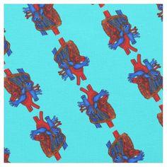 Aqua Anatomical Heart Patterned Fabric #fabric #hearts #anatomicalhearts #crafts #zazzle