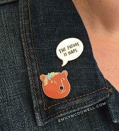 Flower Bear Enamel Pin