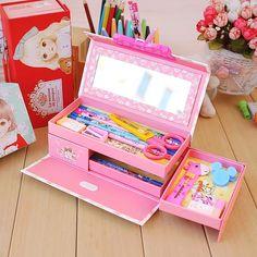 L'école plumier poche porte-crayon kawaii mignon poignée belle filles 3 couche crayon cas avec serrure crayon cas pour filles(China (Mainland))