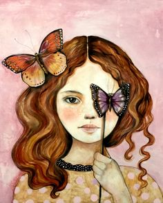 Carlotta with butterflies art print by claudiatremblay on Etsy