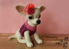 Felting Chihuahua Sophie by FeltingToysRU on Etsy