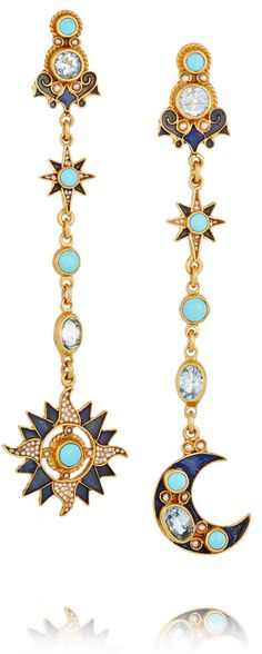 Percossi Papi Sun and Moon Gold-Plated Multi-Stone Earrings