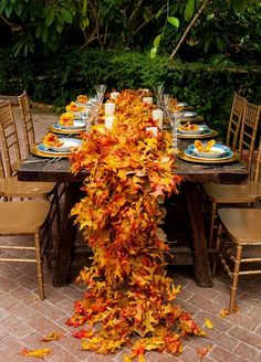 Fall Leaves Wedding Centerpieces
