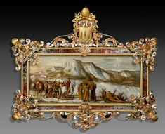 . Attributed to Antonio Tempesta (1555-1630) and Trapani, Sicily, c. 1745 Joshua Crossing the Jordan River Marble - 44.5 x 103.5 cm (painting) Sicilian Jasper, Gilt and Silverplated Copper, Silver, Mother of Pearl, Coral and Glass 117 x 138 cm (frame) Galerie Kugel Photo : Galerie Kugel