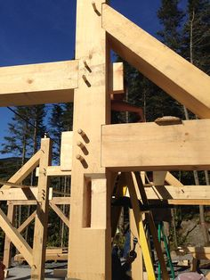 Two beams and a brace join into this post - http://timberhomesllc.com/how-we-build/whats-a-timber-frame/?utm_content=buffer3ba05&utm_medium=social&utm_source=pinterest.com&utm_campaign=buffer