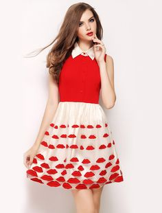 Red Sleeveless Lips Embroidered Flare Dress EUR€20.60
