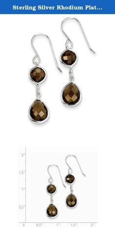 Sterling Silver Rhodium Plated Diamond Smoky Quartz Earrings. Gem Wt- 6.4ct (1.5IN x 0.3IN ). Length:40mm / Width:9mm / Polished / Sterling silver / Diamond / Shepherd hook / Smokey quartz / Dangle / Rhodium-plated / Heat Treated Color Treatment.